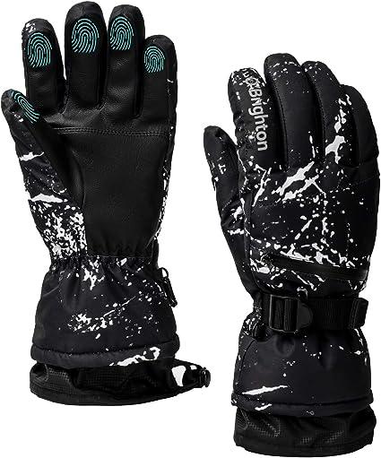 MEN BLACK PRINT, XL Adults Big Kids Ski Snowborad Winter Snow Waterproof Gloves with Touch Screen