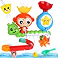 BBLIKE Juguetes Bañera - Juegos de Agua Orgsnizador Baño con Estación de Cascada Pista de Juguetes para Bebes, Juego de Piscina, Juego de Ducha 14 PCS
