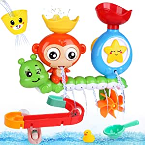 HOWADE Bath Toys for Toddlers Kids 2 3 4 5+ Year Old Boys Girls, Bathtub Toys with Waterfall Station and DIY Ball Track Toys 2 in 1