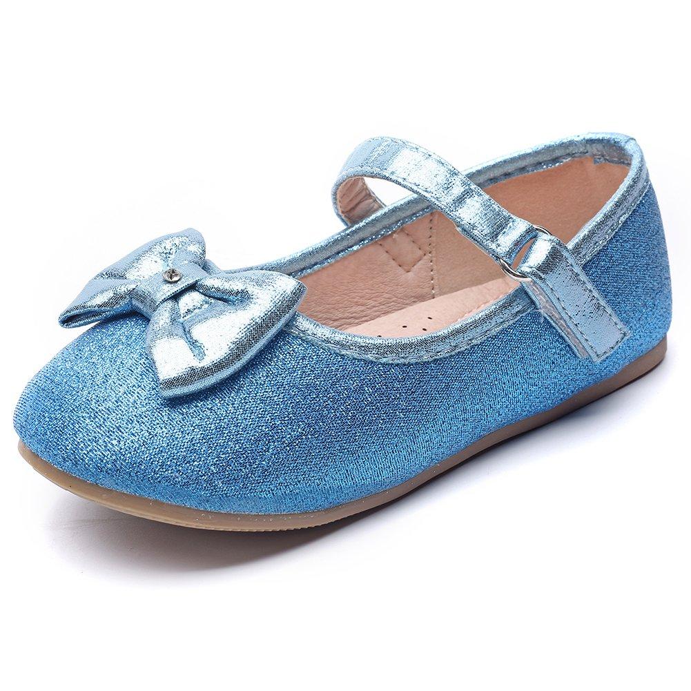 Chiximaxu Maxu Toddler Girl's Marry Jane Flat Casual Blue Strap Ballerina Shoes,Toddler 8.5M