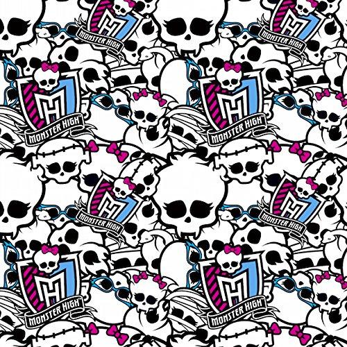 Monster High Anti-Pill Fleece Fabric By The Yard (White & Black)