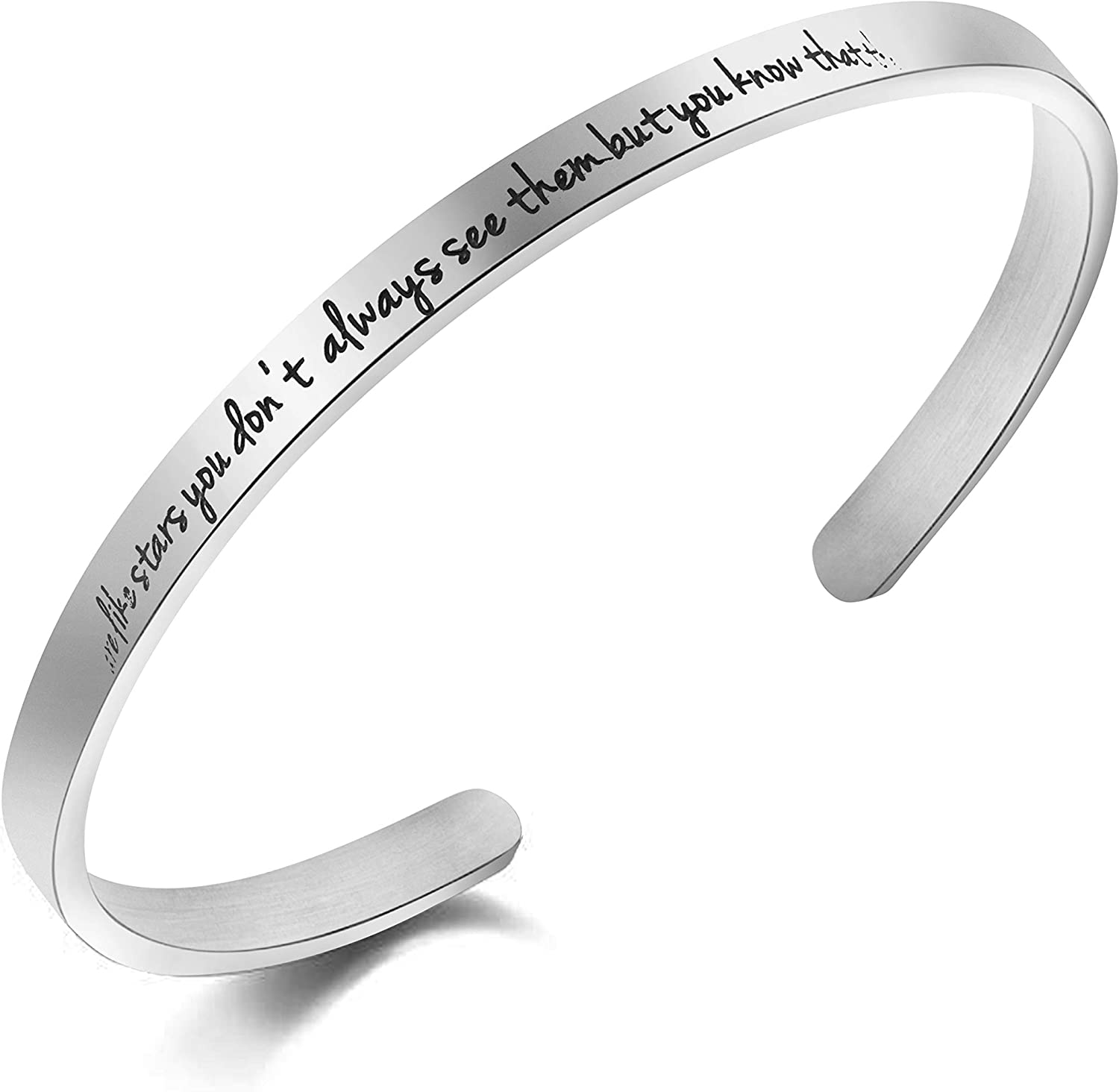 Awegift Good Friend Bracelet Hand Stamped Stainless Steel Cuff Bangle Women Jewelry Gift for Friends