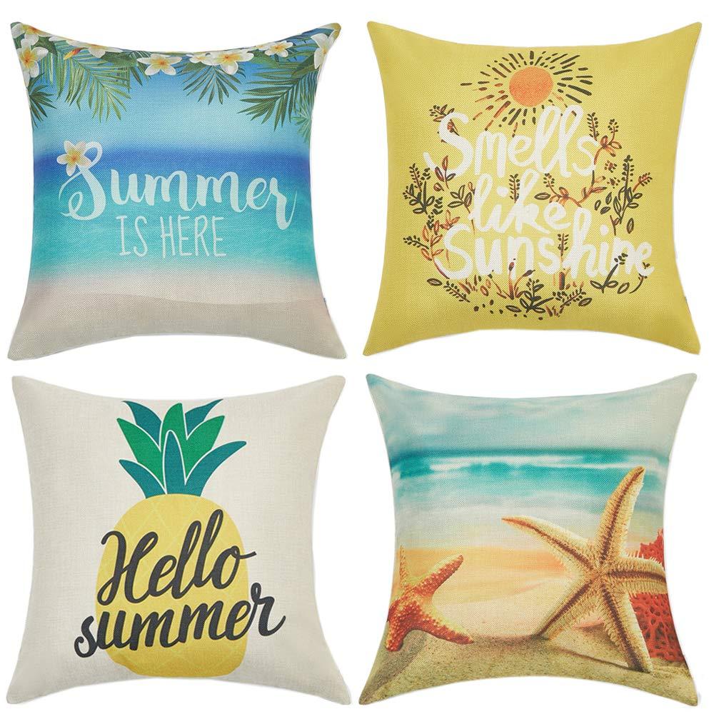 Anickal Summer Decorations Set of 4 Decorative Throw Pillow Covers 18x18 Hello Summer Beach Pineapple Sunshine Starfish Cotton Linen Pillow Cases for Summer Home Decor