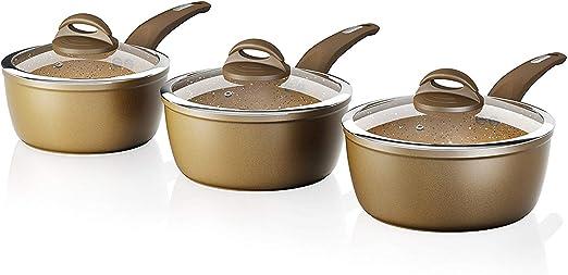 Cerastone Saucepan Forged Aluminium with Easy Clean Non-Stick Ceramic,22 cm