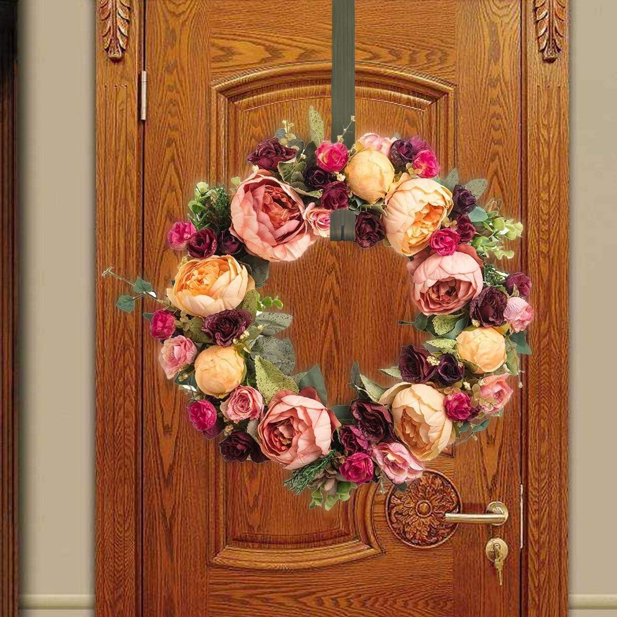 GameXcel Wreath Hanger Over The Door Large Wreath Metal Hook for Christmas Wreath Front Door Hanger 12 Brass