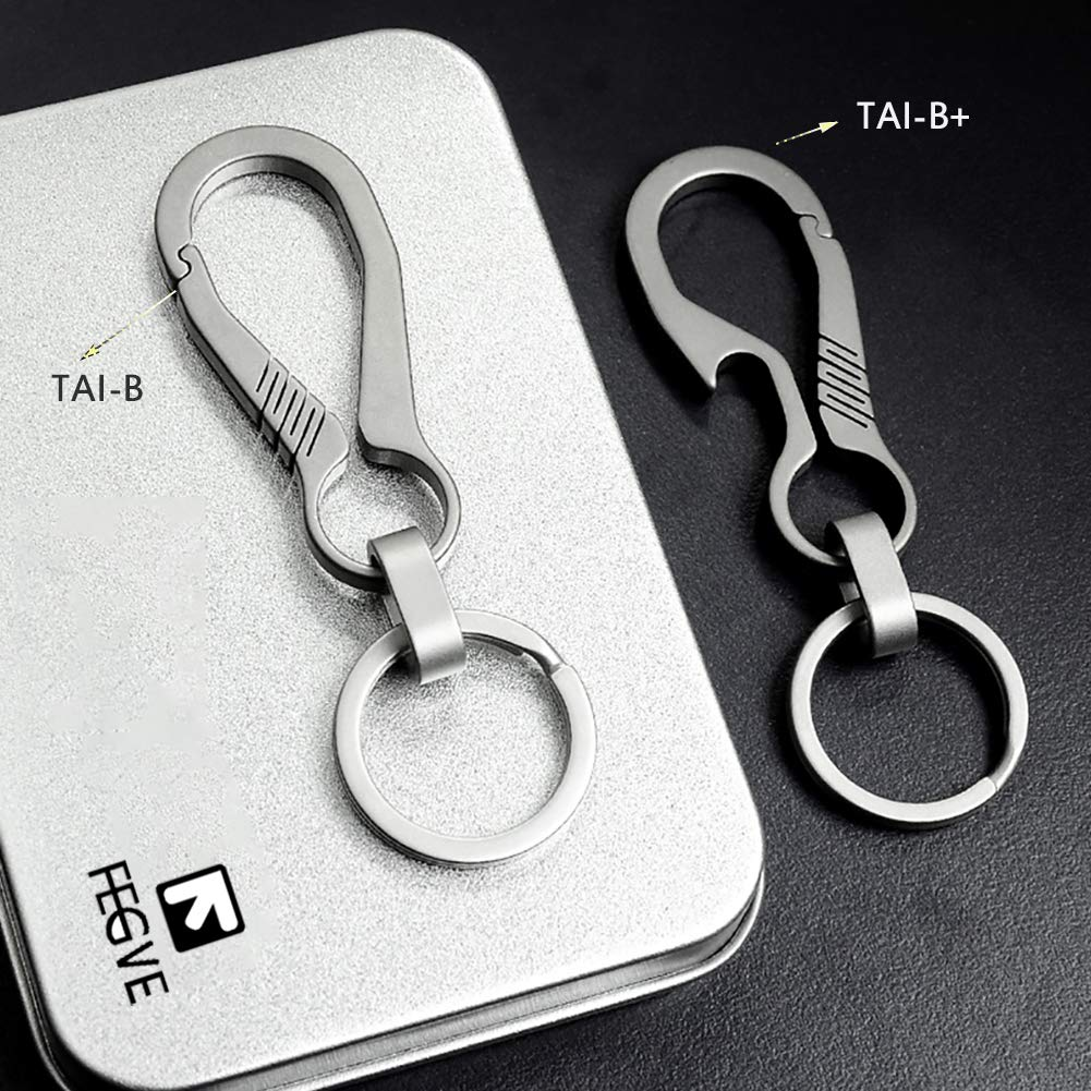 Key Ring and Gift Box ,Carabiner Car Key Chains for Men and Women FEGVE Titanium Heavy Duty Key Chain with