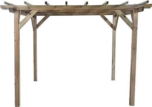 Pérgola clásica rectangular de madera para jardín - medidas ...