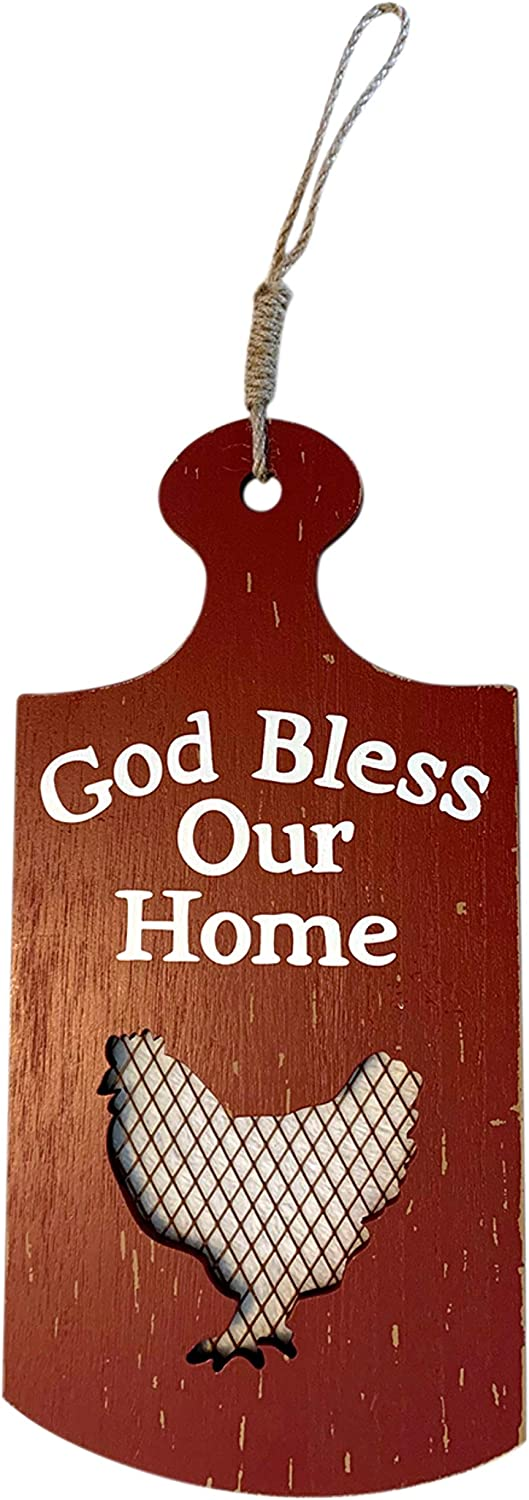 Trinity Church Supply God Bless Our Home Red Rooster Paddle Sign for Kitchen, Farmhouse Decor for The Home,13 Inch