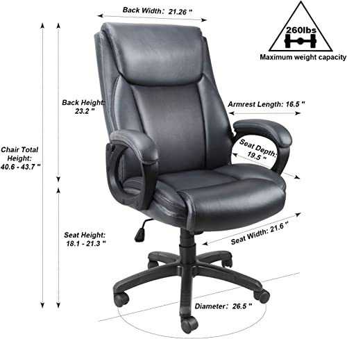 Mysuntown Executive Home Office Chair – High Back PU Leather Swivel Heavy Duty Task Chair with Padded Arms Lumbar Support, Ergonomic Adjustable Reclining Desk Computer Chair Grey