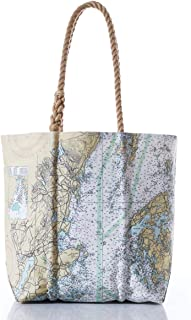"""product image for Recycled Sail Material Penobscot Bay Nautical Chart Tote with Rope Handles 14""""h x 14""""w"""