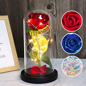 RECUTMS Galaxy Enchanted Red Rose, Silk Rose Under Glass Dome with Led Light, Mother's Day, Home/Office Decor, Anniversary, Valentine's Day Best Gifts for Girlfriend Wife Women(Red)