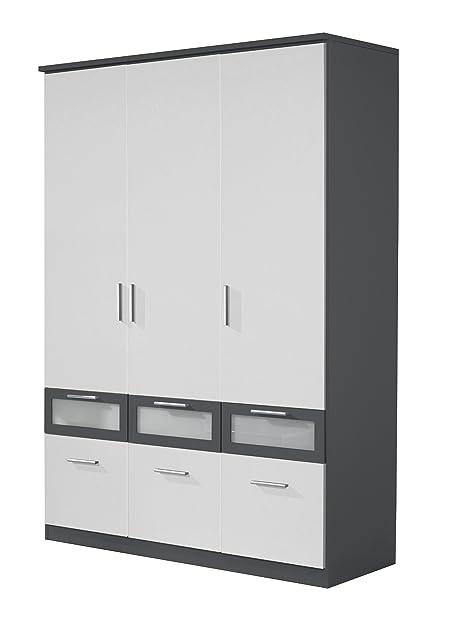 Rauch Kleiderschrank 3 Türig Weiß Alpin Mit Schubladen, Absetzungen In Grau  Metallic Nachbildung,