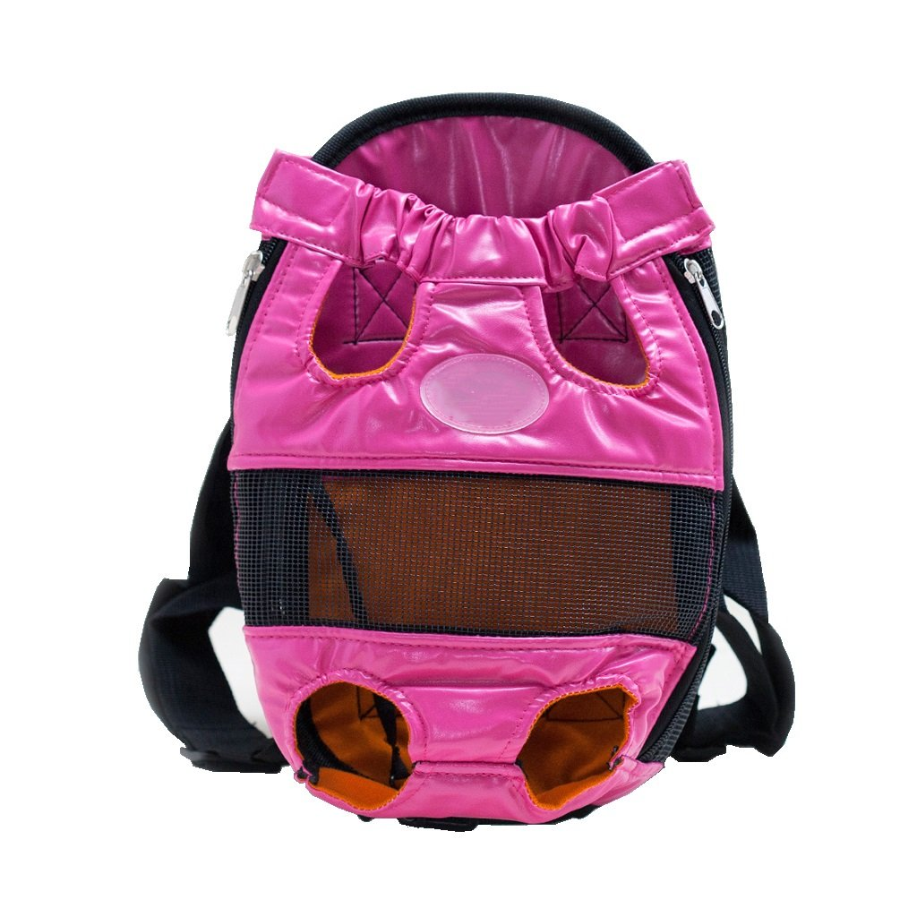 Amazon.com : PU Pink Pet Backpack Legs Out Front-facing Dog Carrier Backpack Adjustable Pet Backpack Portable for Walking Hiking Bike and Motorcycle (Size ...