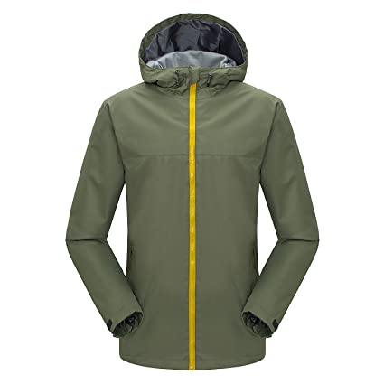 cf3baa0efe7 Image Unavailable. Image not available for. Color  Ynport Mens Waterproof  Rain Jacket Hooded Rainwear Outdoor Windbreaker ...
