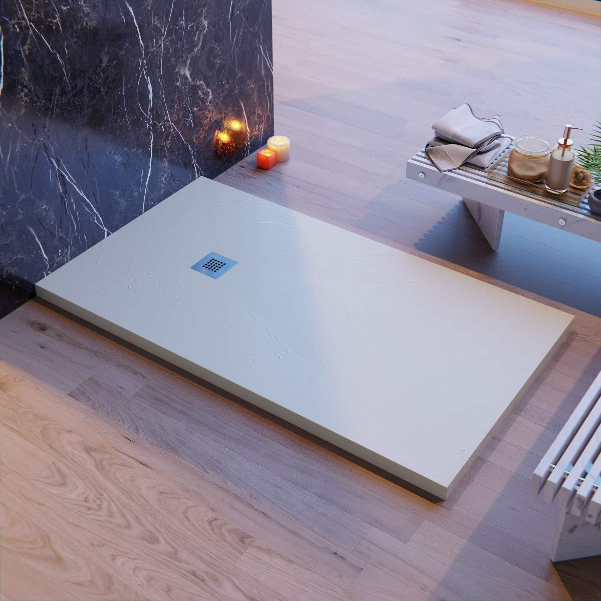 rev/êtement en Gelcoat blanc blanc Receveur de douche fabriqu/é en Italie s/érie Venezia en marbre min/éral effet pierre ardoise slim 3 cm