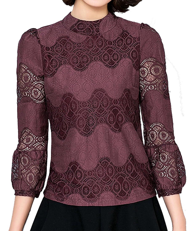 Helan Women's Slim Net Yarn Puff Sleeve Lace Blouse