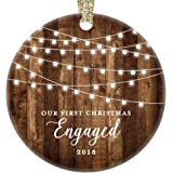 """Engagement Keepsake Gifts 2018, First Christmas Engaged Ornament, Rustic Newly Engaged Couple 1st Xmas Farmhouse Collectible Woodgrain Present 3"""" Flat Circle Porcelain w/Gold Ribbon & Free Gift Box"""