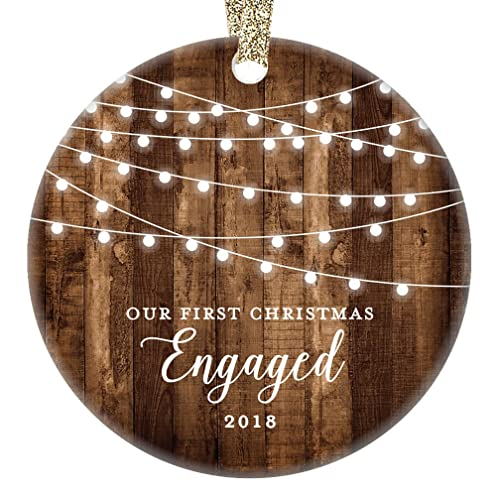 engagement keepsake gifts 2018 first christmas engaged ornament rustic newly engaged couple 1st xmas