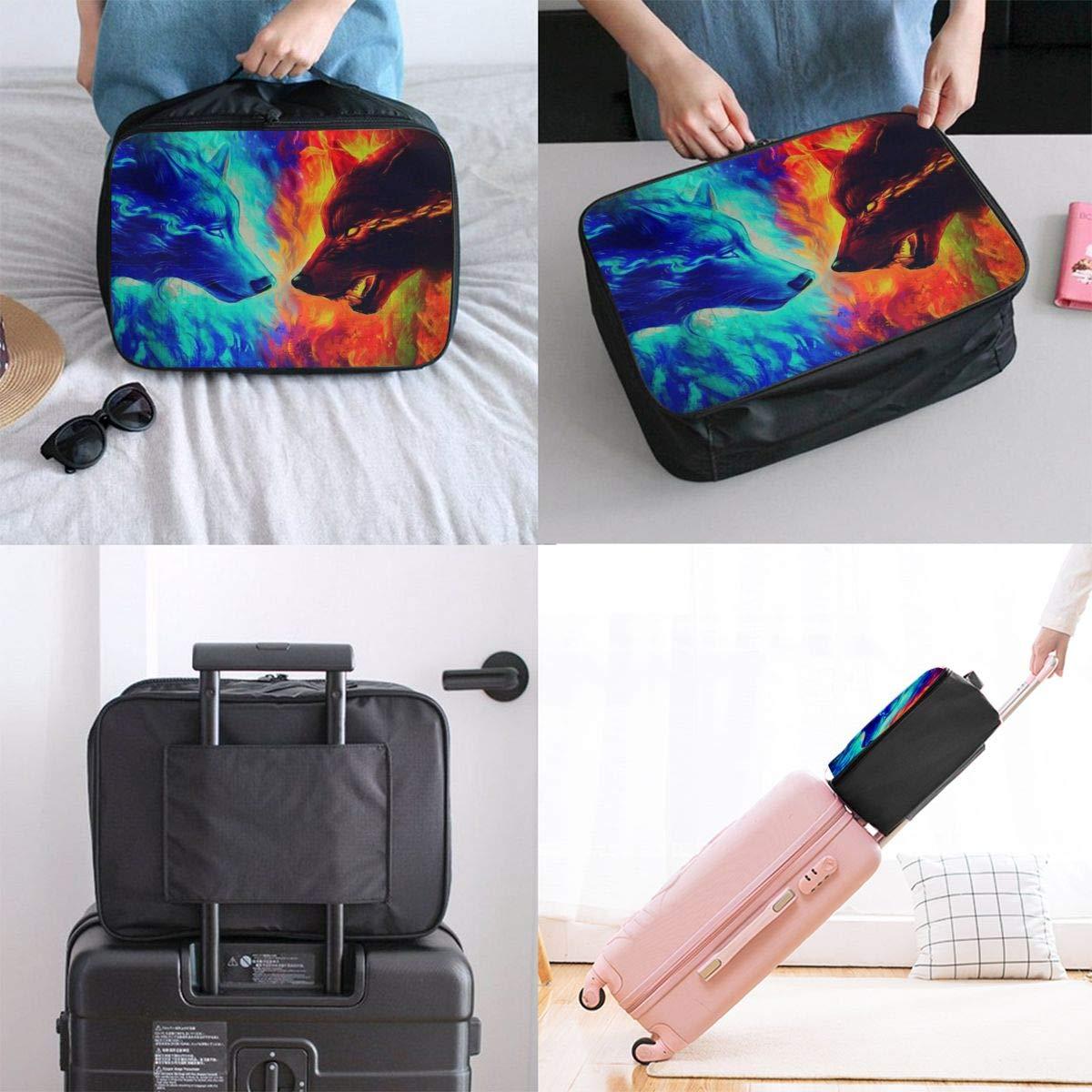 3D Creative Wolf Galaxy Travel Bag Men Women 3D Print Pattern Gift Portable Waterproof Oxford Cloth Luggage Bag