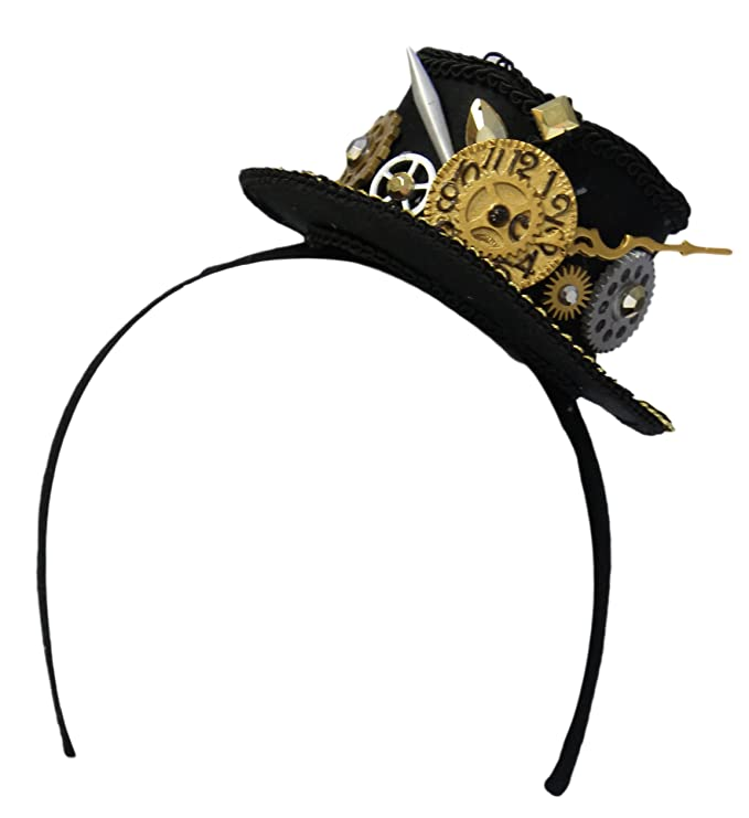 Steampunk Hats | Top Hats | Bowler 2.5 Steampunk Mini Top Hat Headband with Clock and Gears $14.95 AT vintagedancer.com