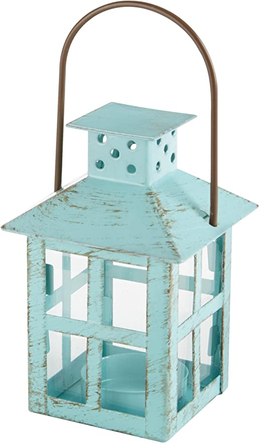 Kate Aspen, Distressed Metal Vintage Decorative Mini Lantern, Centerpiece, Party Favor, 2.5 x 2.5 x 6.5, Blue best spring home decor