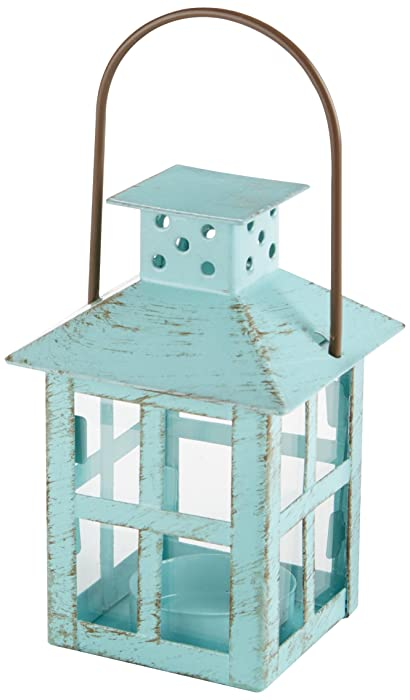 Kate Aspen, Distressed Metal Vintage Decorative Mini Lantern, Centerpiece, Party Favor, 2.5 x 2.5 x 6.5, Blue