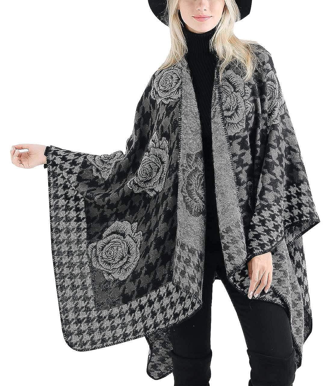 135cm FEOYA Poncho de Mujer Estola Invierno Estampado Florales Original Lana Artificial Caliente para Vestido Gran Tama/ño Color Variado 150