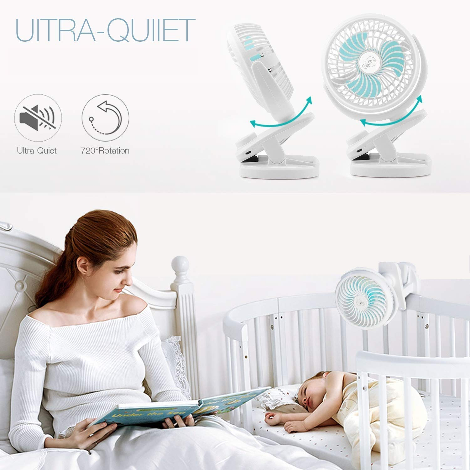 Ausein Mini Clip-on Fan 5000mAh Rechargeable Battery Operated USB Desk Fan Portable Personal Fan Small Quiet Stroller Fan for Home, Office, Travel, Camping, Baby Pram, Pushchairs, Buggy, Car (White)