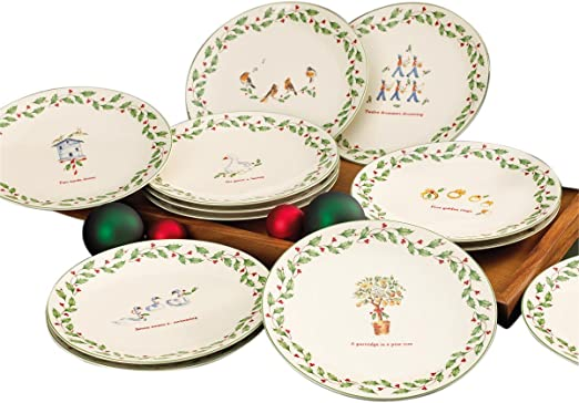 Amazon Com Lenox 12 Days Of Christmas Dessert Plates Set Of 12