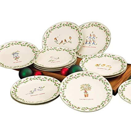 lenox 12 days of christmas dessert plates set of 12