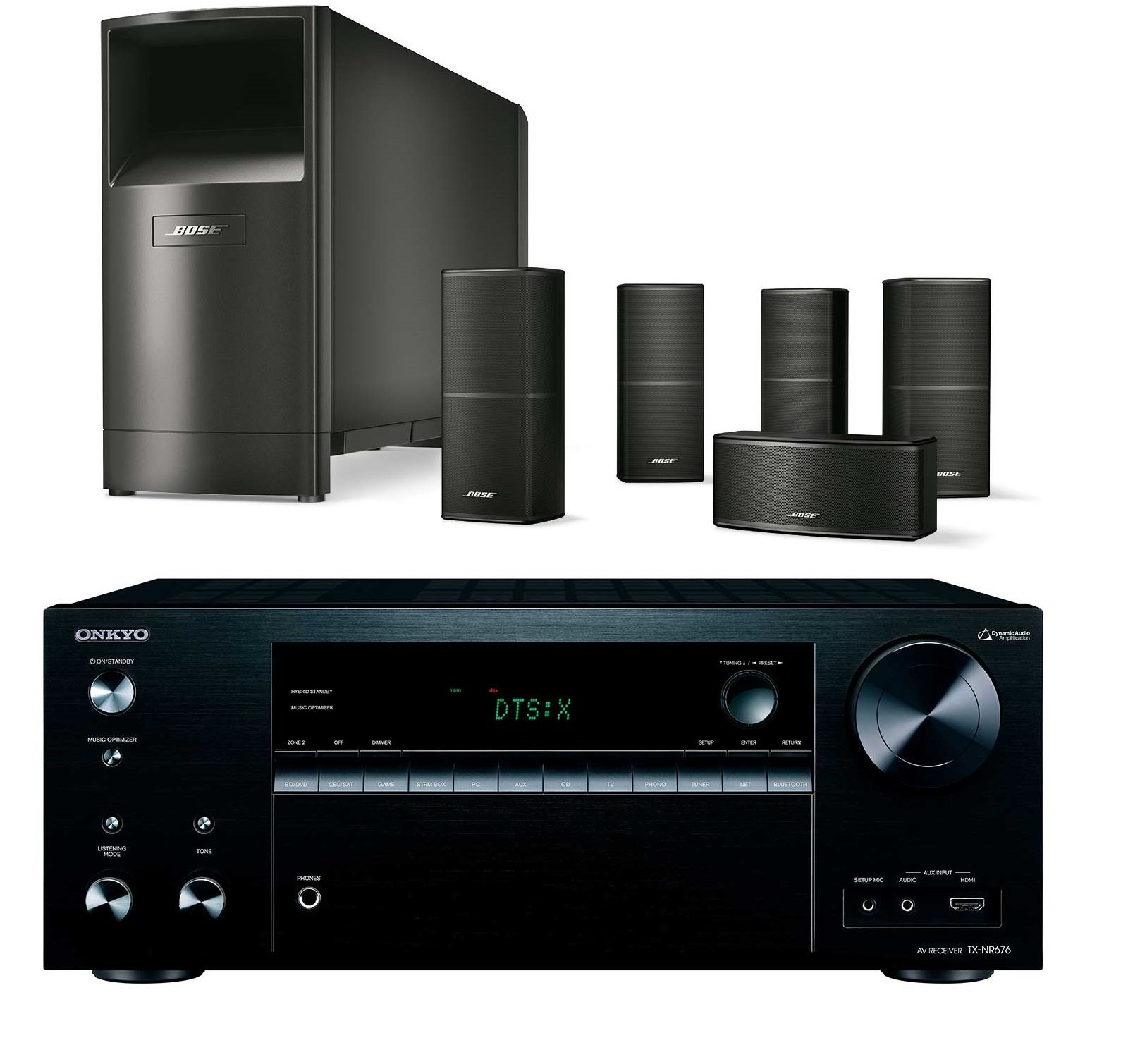 Bose Acoustimass 10 Series V Wired Home Theater Speaker System, Black, with Onkyo TXNR676 4K HDR AV Receiver by Bose