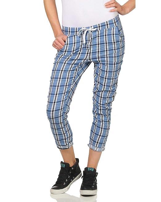 1600389c080a ZARMEXX Pantaloni Casual da Donna Pantaloni da Golf Karo Pantaloni Estivi Pantaloni  Scozzesi Hipsters Elastic Waist (Taglia Unica, 38-40): Amazon.it: ...