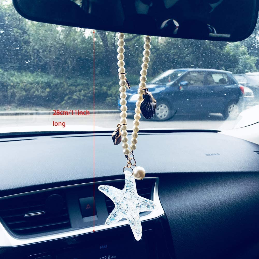 fortoo Starfish Beads Car Pendant Rearview Mirror Hanging Decoration Car Interior Accessory