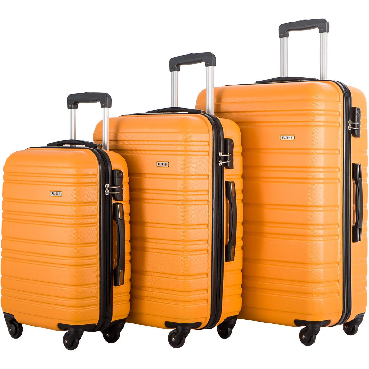 FLIEKS Luggages 3 Piece Luggage Set Spinner Suitcase (Orange)