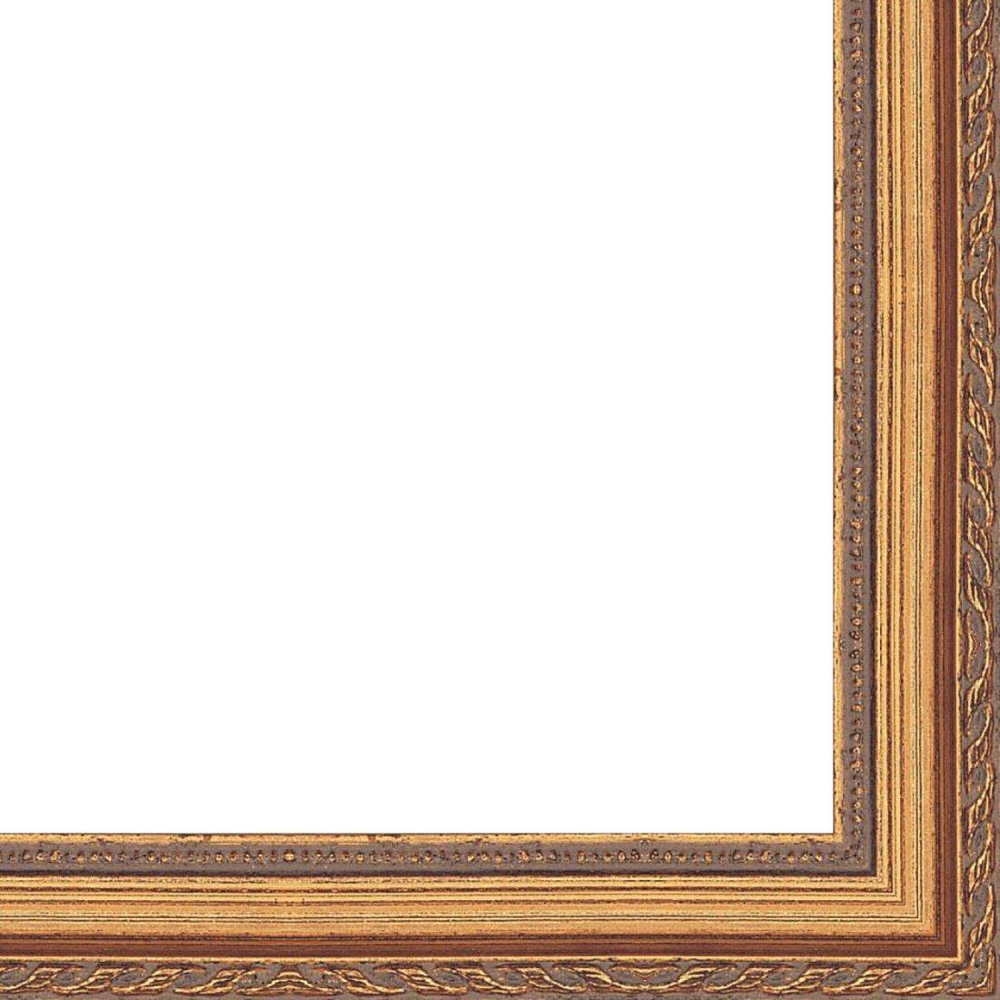 Picture Frame Moulding (Wood) 18ft bundle - Traditional Antique Gold Finish - 0.75'' width - 3/8'' rabbet depth