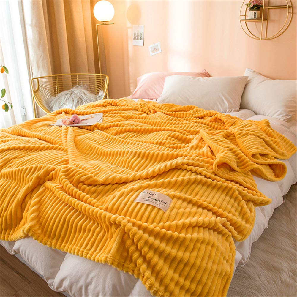 Autumn and Winter Thick Coral Carpet air Conditioning Blanket Natural Simplicity Soft and Smooth Microfiber Yellow 150200cm by iangbaoyo