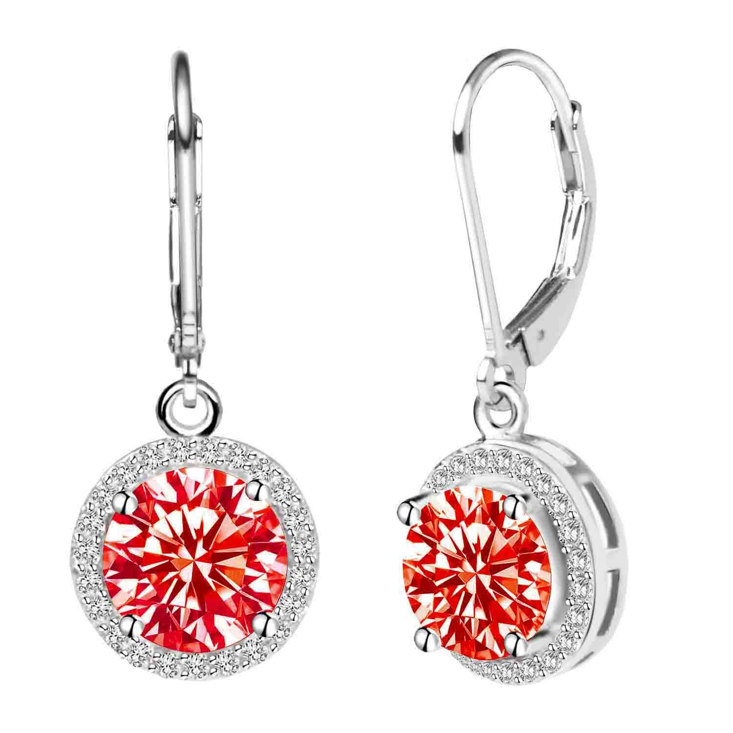 Jane Stone Women's 925 Sterling Silver Leverback Round Halo Earrings with Cubic Zirconia EnyaJewelry E0076219I40-JS