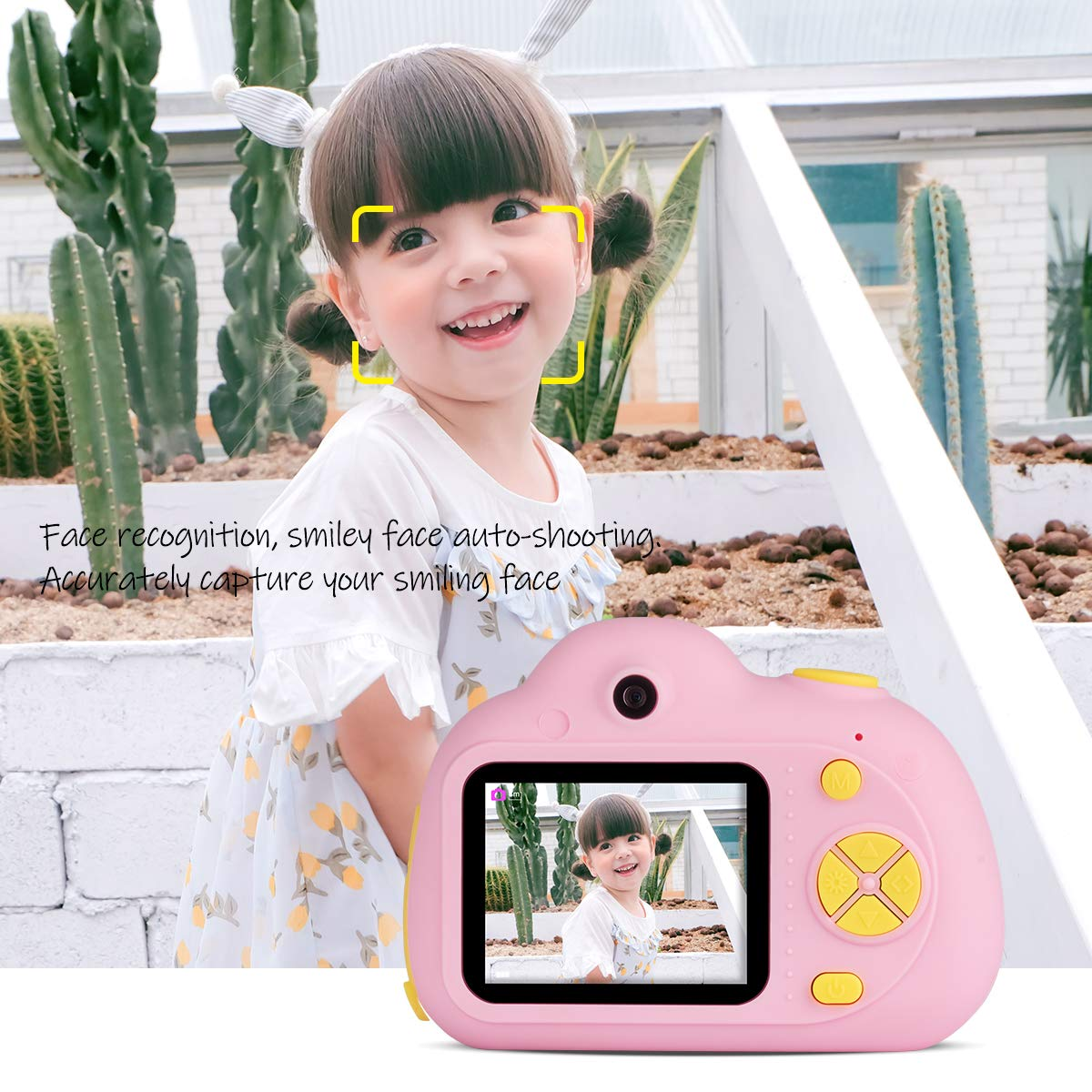 Kids Cameras Dual Selfie Digital Camera HD Video Recorder Action Camera Camcorder for 4-9 Year Old Kids Birthday Festival Gifts Toys for Children Boys Girls 2.0'' LCD Screen 4X Digital Zoom (Pink) by Tyhbelle (Image #3)