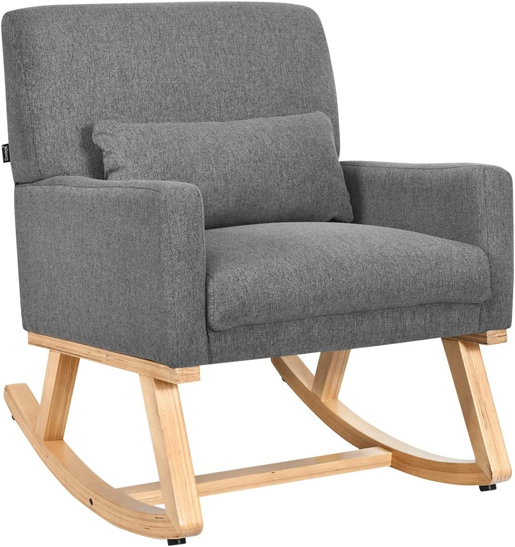 Giantex Upholstered Rocking Chair with Lumbar Support, Fabric Padded Seat and Solid Wood Base, Comfortable Rocker for Living Room, Bedroom, Study Room, Office Rocking Armchair Gray