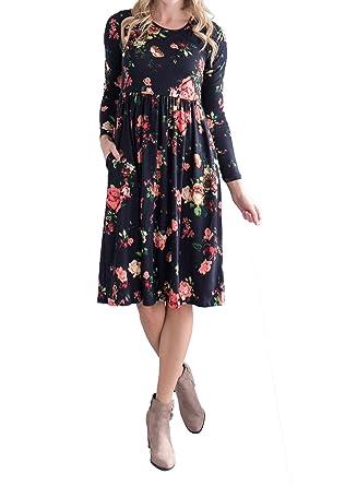 f5179eea4 Mafulus Womens Floral Casual Dresses Long Sleeve Crew Neck Swing Midi Dress  with Pockets Navy Blue