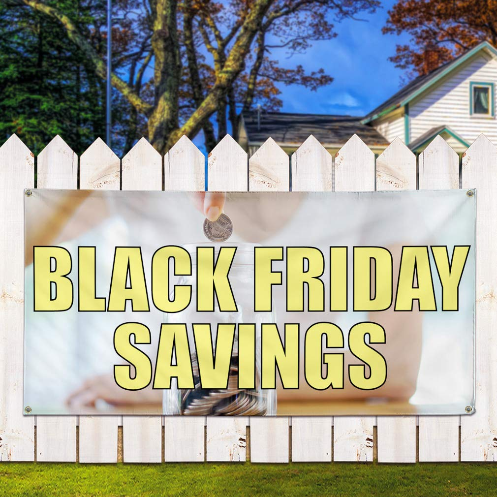 6 Grommets Multiple Sizes Available 32inx80in Vinyl Banner Sign Black Friday Savings #1 Style A Retail Marketing Advertising Yellow Set of 2