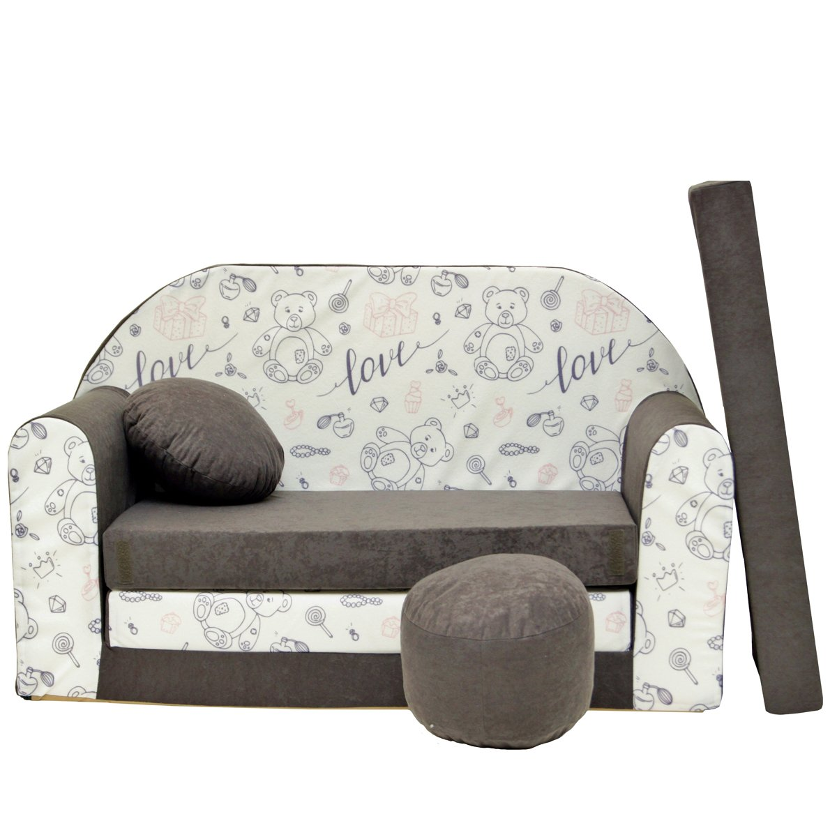 COSTWAY Canap/é Enfant Fauteuil Enfant Canap/é Lit pour Enfant avec Chaise PVC 83x42x41cm Rose