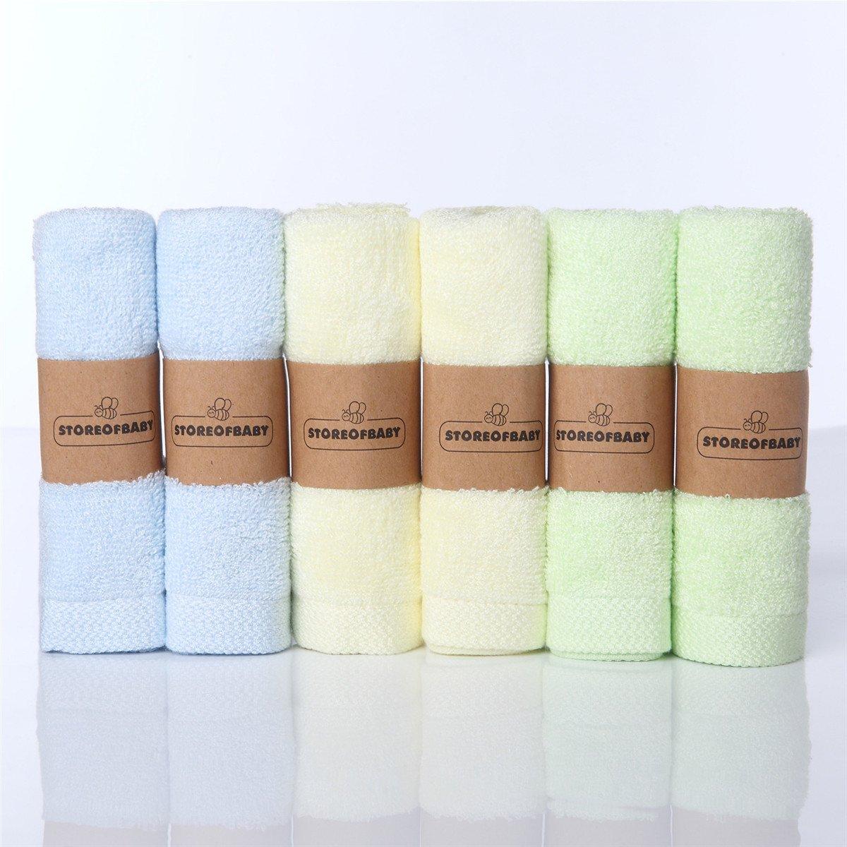 Storeofbaby Baby Waschlappen Bambusfaser umweltfreundliche wiederverwendbare Wischtücher 6 Pack 10X 10 Washcloths_Blue