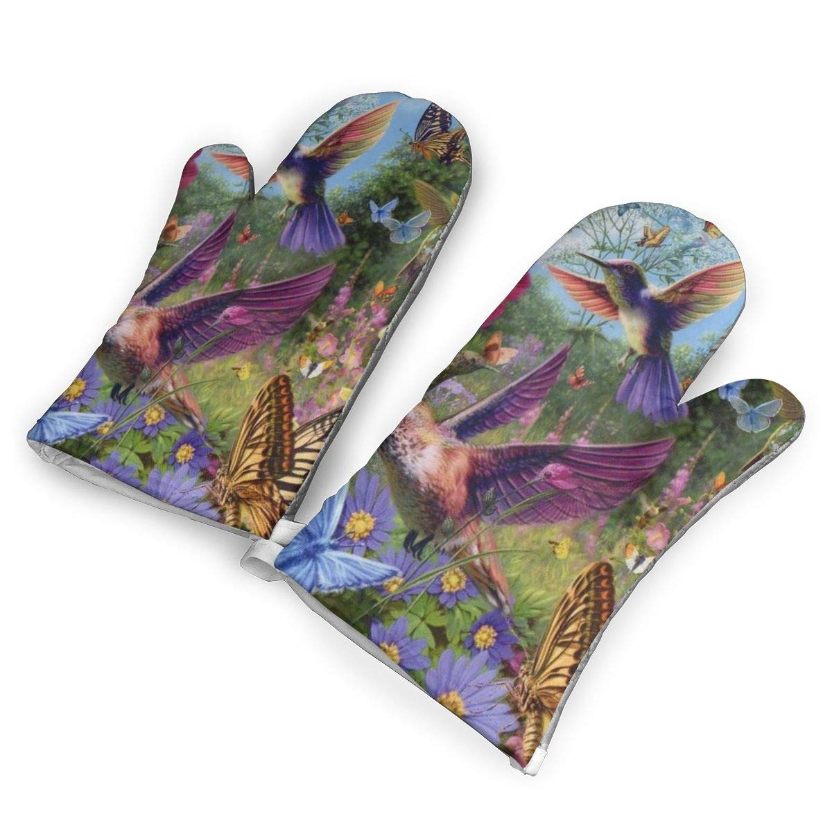 ZORITO Hummingbird and Butterfly Oven Mitts - 1 Pair of Extra Long Professional Non-Slip Baking Gloves - Food Safe, Soft Inner Lining