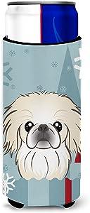 Caroline's Treasures BB1717MUK Winter Holiday Pekingese Ultra Beverage Insulators for slim cans, Slim Can, multicolor