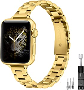 Dilando Metal Band Compatible with Apple Watch band 38mm 40mm Slim Strap Stainless Steel Bracelet Thin Adjustable Metal Wristband Women Girls for iWatch SE Series 6/5/4/3/2/1 Gold 38mm/40mm