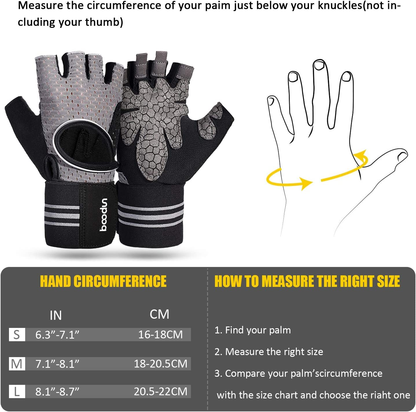 BOSONER Workout Gloves for Women Men,Training Gloves with Wrist Support for Exercise Fitness Riding Lifting Gym Weight