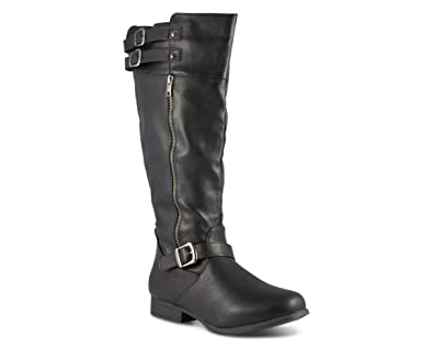 3dc27a155a86 Twisted Women s Noah Wide Width Wide Calf Knee High Faux Leather Boots with  Buckle Straps