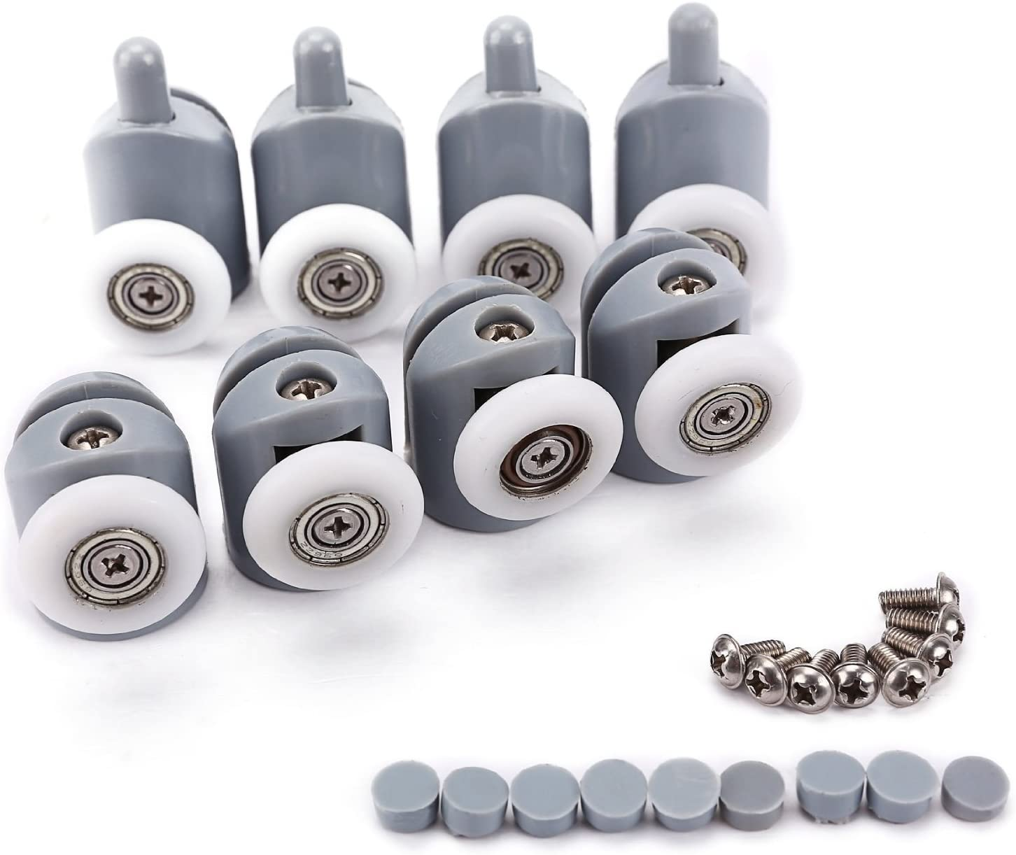 Shower Door Rollers, Lance Set of 8 Single Shower Door Runners/Wheels / Pulleys/Guides 23mm Diameter Home Bathroom DIY Replacement Parts(4 upper rollers and 4 bottom rollers) by Lance