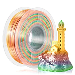 SUNLU Silk Rainbow Filament, Shiny Multicolor Gradient PLA+ Filament 1.75mm, 1kg(2.2lbs)/Spool 3D Filament for 3D Printer & 3D Pen, Shiny Silk Rinbow Ⅰ